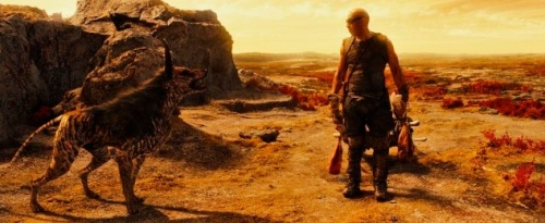 Vin Diesel as Riddick and Jacka Dog Photo