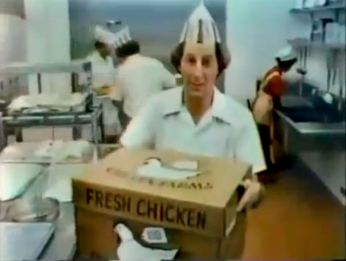 I wore a hat like that, and apron like that, and likely had my hair even longer, and yes, I used to haul boxes of frozen chicken in and out of the giant freezer to prep the chicken for cooking.