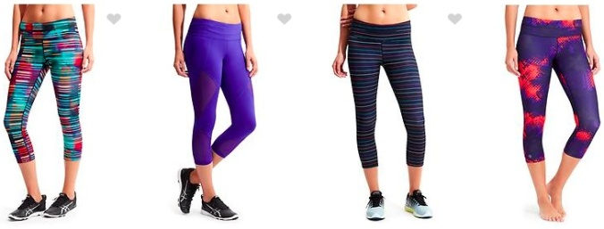 Athleta appeals to the huge fashion segment of the running market with a colorful display of running gear, like these tights. Is it about fashion, function, or both?